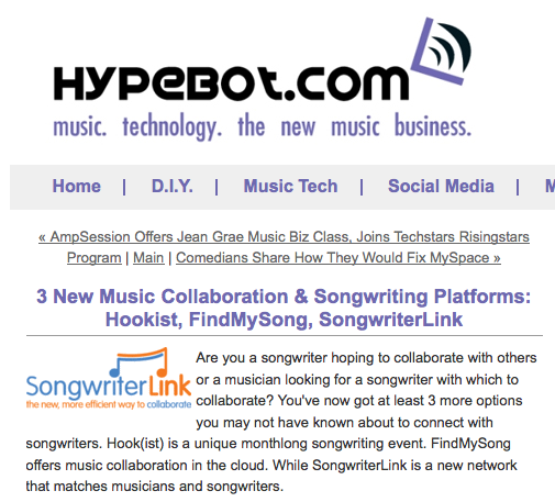songwriterlink hypebot