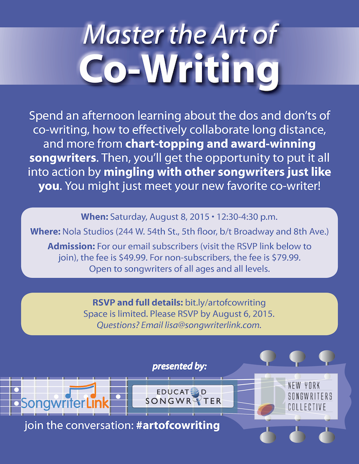 master the art of co-writing workshop poster small